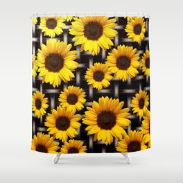 Bright Yellow Sunflower and Industrial Grid Pattern Shower Curtain
