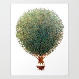 """Love Your World"" Tree Hot Air Balloon Art Print"