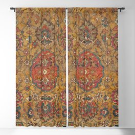 Persian Medallion Rug VI // 16th Century Distressed Red Green Blue Flowery Colorful Ornate Pattern Blackout Curtain