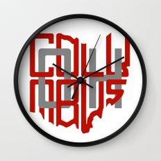 Ohio Shaped Columbus (Scarlet & Grey) Wall Clock