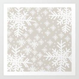 Grey Snowflake Design Art Print