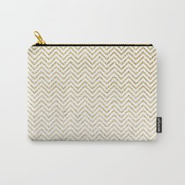 Gold Glitter Ombre Chevrons Carry-All Pouch