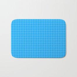 Blue Grid White Line Bath Mat