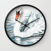 swan Wall Clocks featuring Swan by rchaem