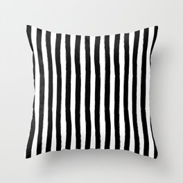 Black and White Cabana Stripes Palm Beach Preppy Throw Pillow