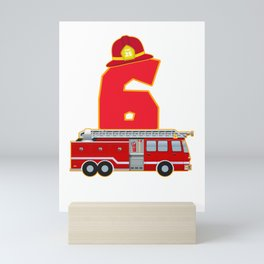 6th Birthday Fireman Firefighter Fire Truck Gift Mini Art Print