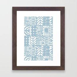 light blue patchwork Framed Art Print