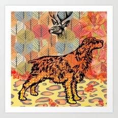 Hunting dog pop art Art Print