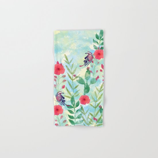 Watercolor floral garden Hand & Bath Towel