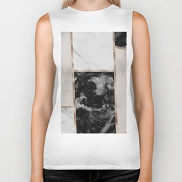 Taupe stones - black marble features Biker Tank