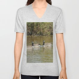 Canadian geese in the lake autumn (Branta canadensis) Unisex V-Neck