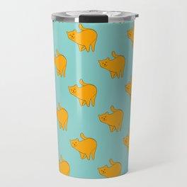 Cute Yellow Cats Pattern | Blue Travel Mug