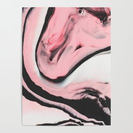 Modern pink marble and black Poster