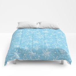 Snowflakes on Blue Wood Comforters