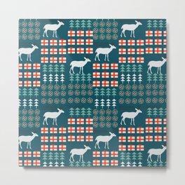 Cheerful Christmas pattern with deer Metal Print