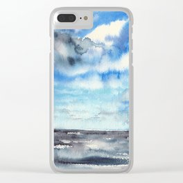 Blue escape - stormy seascape Clear iPhone Case