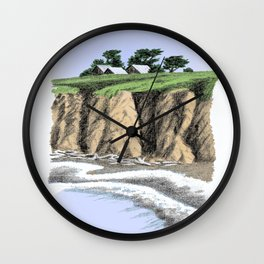 BEACH BLUFF FARM COLORED CHARCOAL DRAWING Wall Clock