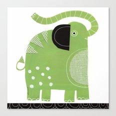 HAPPY GREEN ELEPHANT Canvas Print