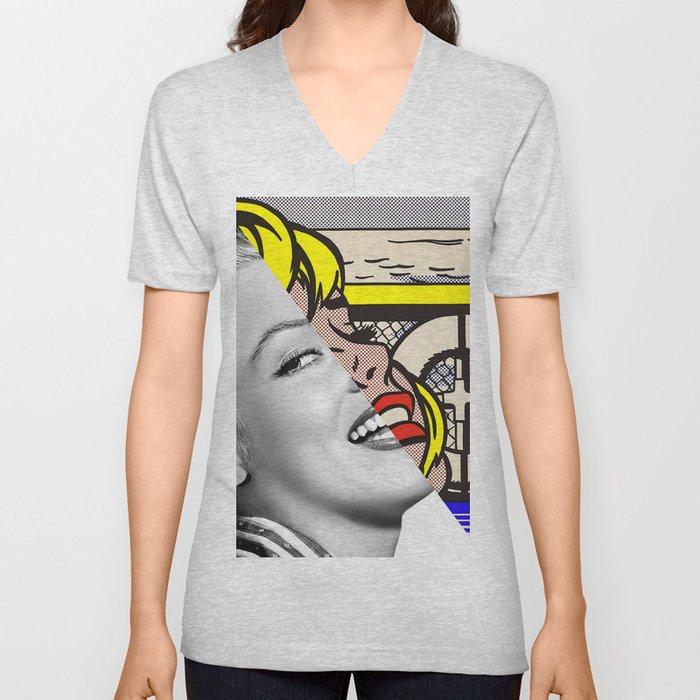 "Roy Lichtenstein's ""Sailboat Girl"" & M.M. Unisex V-Neck"