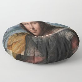 """Mona Lisa No. 2, """"Prado"""" version portrait painting by Leonardo da Vinci Floor Pillow"""