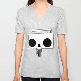 Boombox Skull (Black & White) Unisex V-Neck