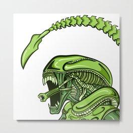 Green Pop Art Alien Xenomorph Metal Print