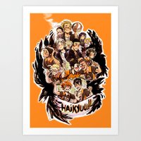haikyuu Art Prints featuring haikyuu!!: crows by Daniela Viçoso