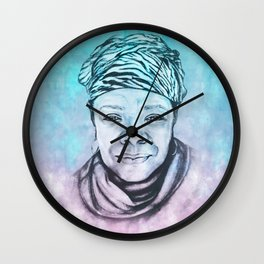 Maya Angelou Portrait on Blue and Pink Wall Clock