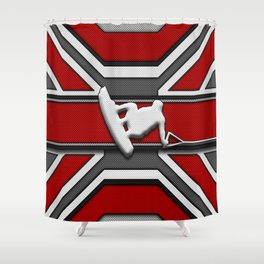 Red and White Wakeboard Rider Stunt Sports Design Shower Curtain