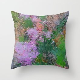 Embossed Impressionist pink flowers Throw Pillow