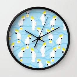 A Squabble Of Cockatoos Wall Clock