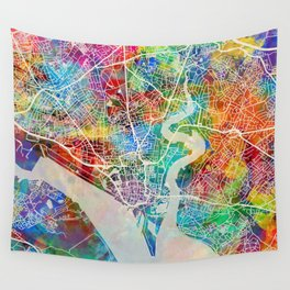 Southampton England City Map Wall Tapestry