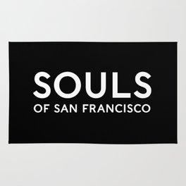 Souls of San Francisco - White Text/Black Background Rug