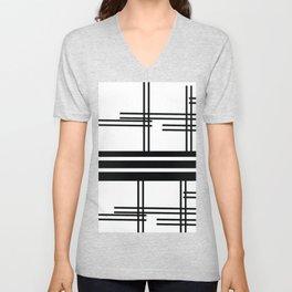 Matchy Stripes Black and White Unisex V-Neck