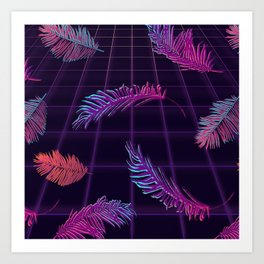 Synthwave Palm Leaves Art Print