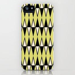 Mid Century Modern Diamond Pattern Black Chartreuse 231 iPhone Case