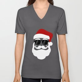 Hipster Santa Claus With Sunglasses Funny Gift for Christmas Unisex V-Neck