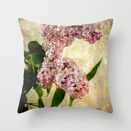 Vintage Lilacs in Bloom Throw Pillow