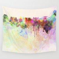 rio de janeiro Wall Tapestries featuring Rio de Janeiro skyline in watercolor background by Paulrommer