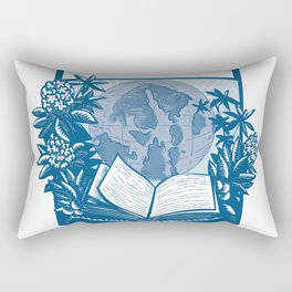 Rhododendron Orcas Island Book Woodcut Rectangular Pillow