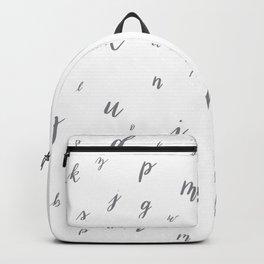 Brush Lettered Hand Lettered Alphabet Pattern Gray Grey Backpack
