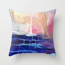Flourescent Waterfall Painting. Waterfall, Abstract, Blue, Pink. Water. Jodilynpaintings. Throw Pillow