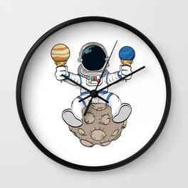 A Fan Of Astronomy? An Astronaut Dreamer? Here's An Antronaut Eating Ice Cream Dessert T-shirt Wall Clock