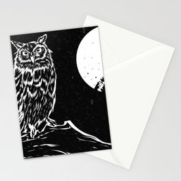 Night Owl - Full Moon and Owl in Tree Branch Stationery Cards