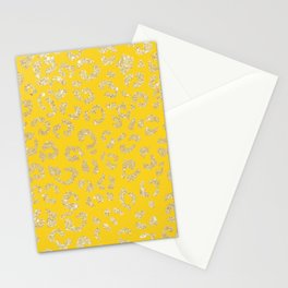 Modern faux gold glitter handdrawn leopard mustard pattern Stationery Cards