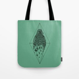 Geometric Crow in a diamond (tattoo style - black and white version) Tote Bag