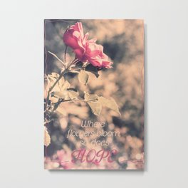 Hope (Hibiscus Pink Rose with Inspirational Quote) Metal Print