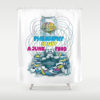 junk food Shower Curtains featuring Philosophy is not a junk food by Ruta13