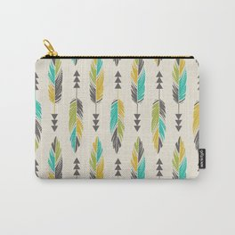 Painted Feathers in a Row-Cream Carry-All Pouch
