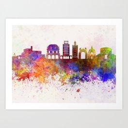 Brescia skyline in watercolor background Art Print